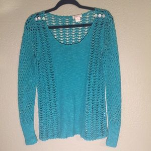 Lucky Brand Open Weave Turquoise Sweater